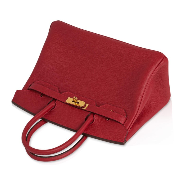 Hermes Birkin 30 Bag Rouge Vif Togo Gold Hardware Perfect Lipstick Red For Sale 2