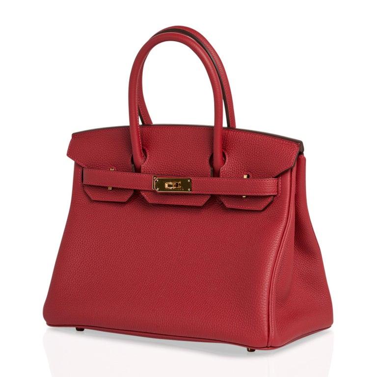 Hermes Birkin 30 Bag Rouge Vif Togo Gold Hardware Perfect Lipstick Red For Sale 3