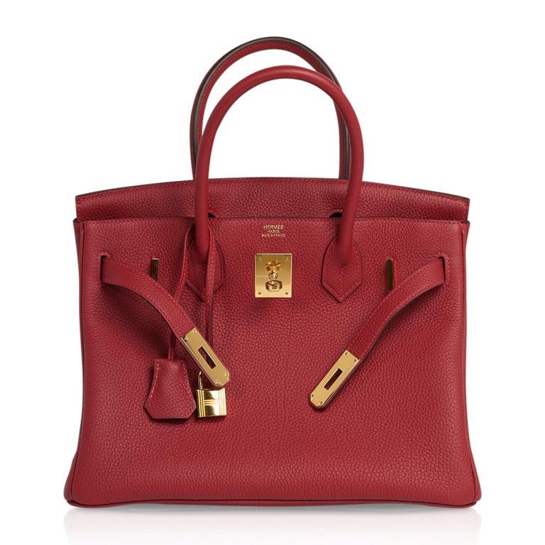 Hermes Birkin 30 Bag Rouge Vif Togo Gold Hardware Perfect Lipstick Red For Sale 4