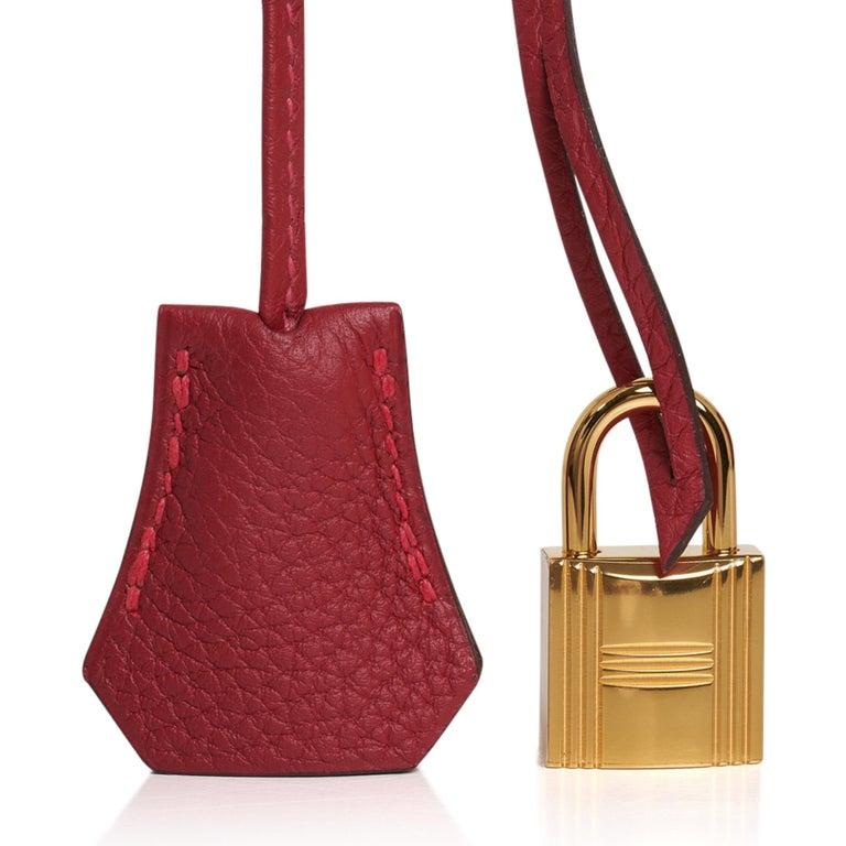 Hermes Birkin 30 Bag Rouge Vif Togo Gold Hardware Perfect Lipstick Red For Sale 5