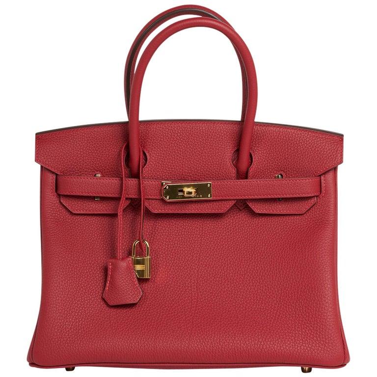 Hermes Birkin 30 Bag Rouge Vif Togo Gold Hardware Perfect Lipstick Red For Sale