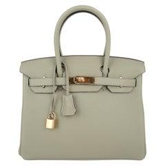 Hermes Birkin 30 Bag Sage Gold Hardware Clemence Leather