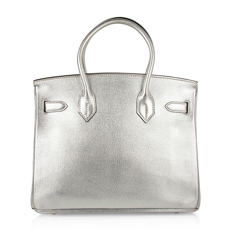 Hermes Birkin 30 Bag Silver Metallic Chevre Palladium Hardware Limited Edition For Sale 6
