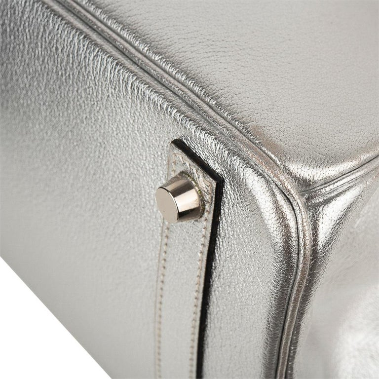 Hermes Birkin 30 Bag Silver Metallic Chevre Palladium Hardware Limited Edition For Sale 9