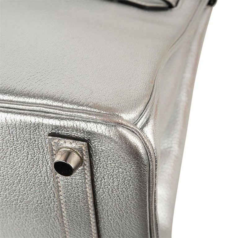 Hermes Birkin 30 Bag Silver Metallic Chevre Palladium Hardware Limited Edition For Sale 10