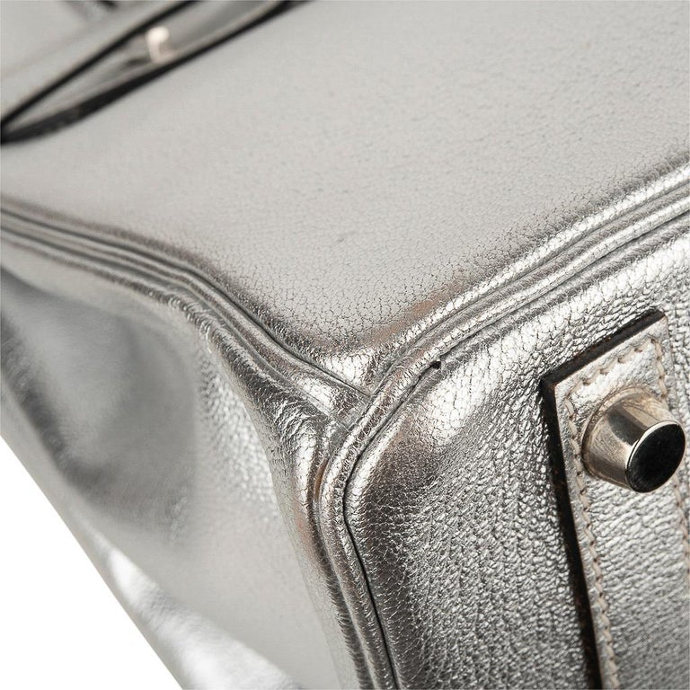 Hermes Birkin 30 Bag Silver Metallic Chevre Palladium Hardware Limited Edition For Sale 11