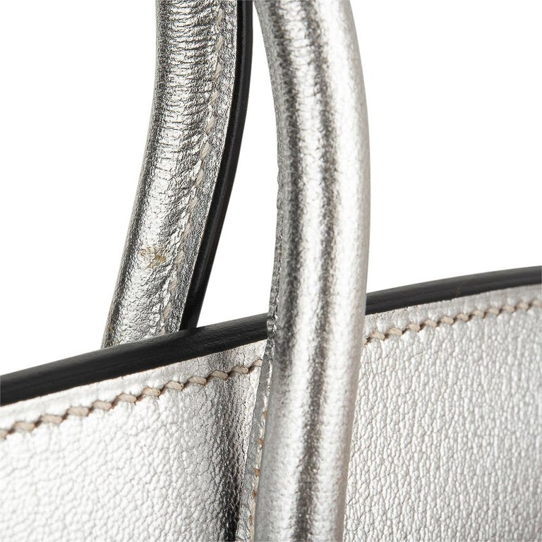 Hermes Birkin 30 Bag Silver Metallic Chevre Palladium Hardware Limited Edition For Sale 12