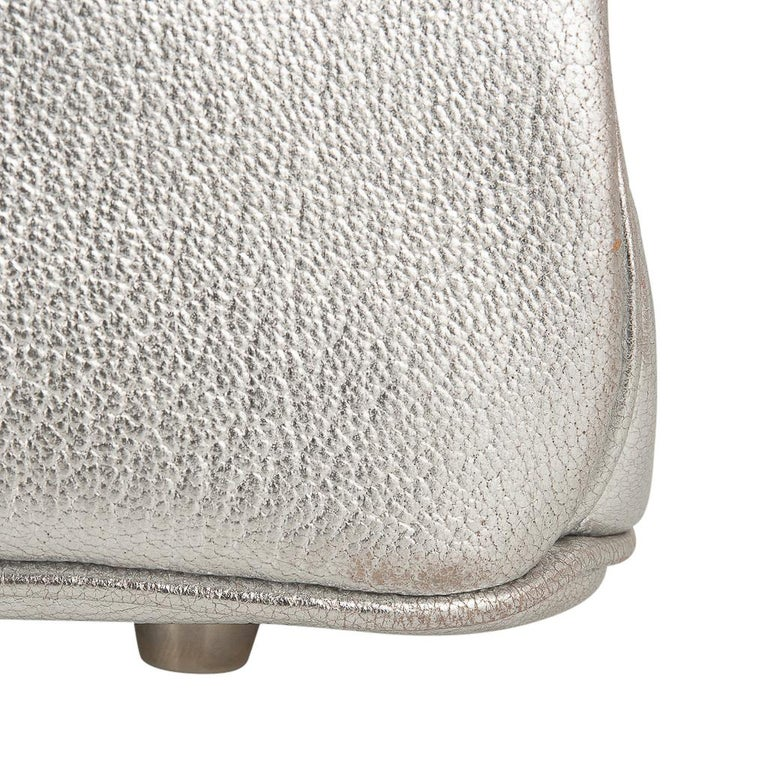 Hermes Birkin 30 Bag Silver Metallic Chevre Palladium Hardware Limited Edition For Sale 15