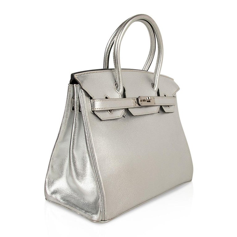 Hermes Birkin 30 Bag Silver Metallic Chevre Palladium Hardware Limited Edition For Sale 2