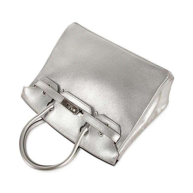 Hermes Birkin 30 Bag Silver Metallic Chevre Palladium Hardware Limited Edition For Sale 3