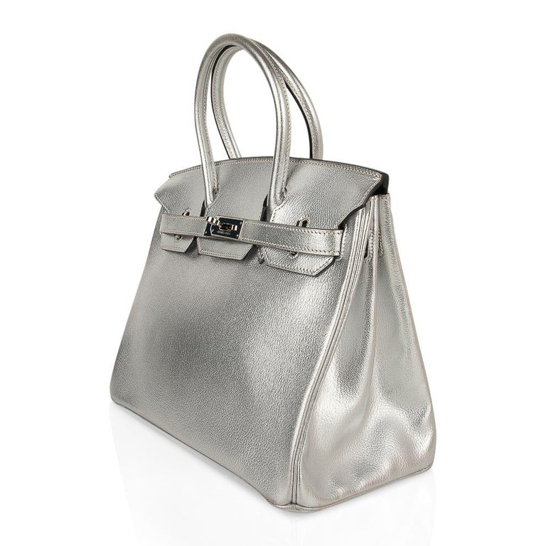 Hermes Birkin 30 Bag Silver Metallic Chevre Palladium Hardware Limited Edition For Sale 4