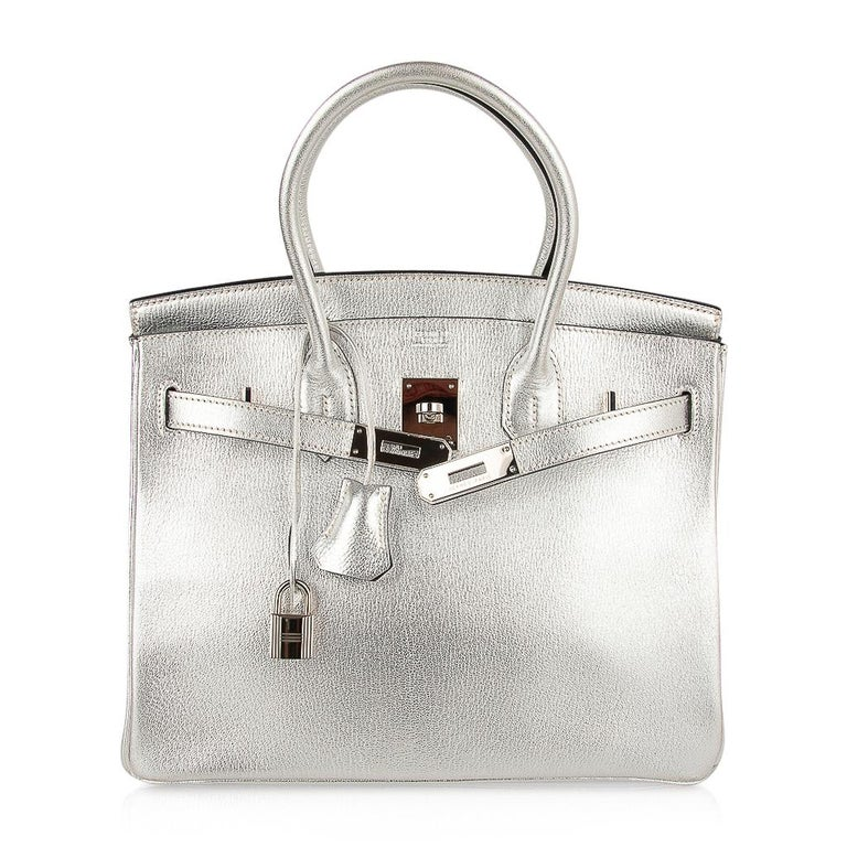 Hermes Birkin 30 Bag Silver Metallic Chevre Palladium Hardware Limited Edition For Sale 5