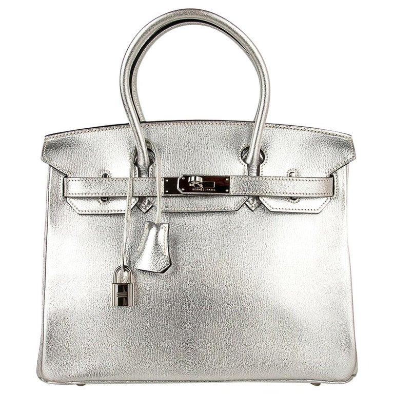 Hermes Birkin 30 Bag Silver Metallic Chevre Palladium Hardware Limited Edition For Sale