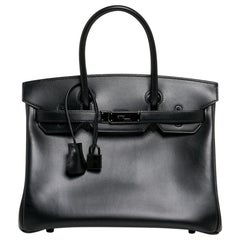 Hermes Birkin 30 Bag So Black Limited Edition Box Leather