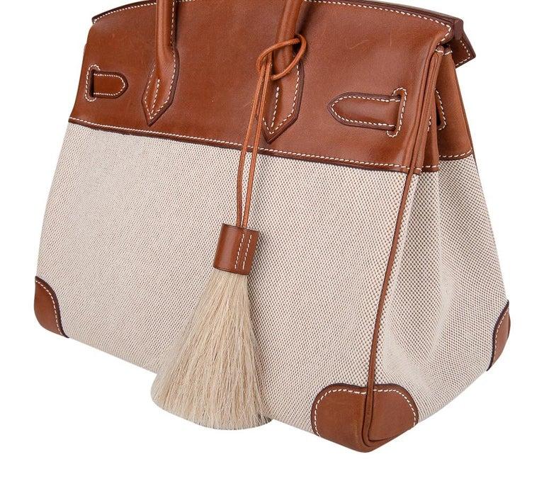 Hermes Birkin 30 Bag Toile / Barenia Leather Palladium w/ Crinoline Bag Charm 5