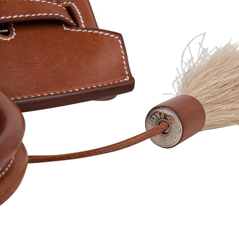 Hermes Birkin 30 Bag Toile / Barenia Leather Palladium w/ Crinoline Bag Charm 6