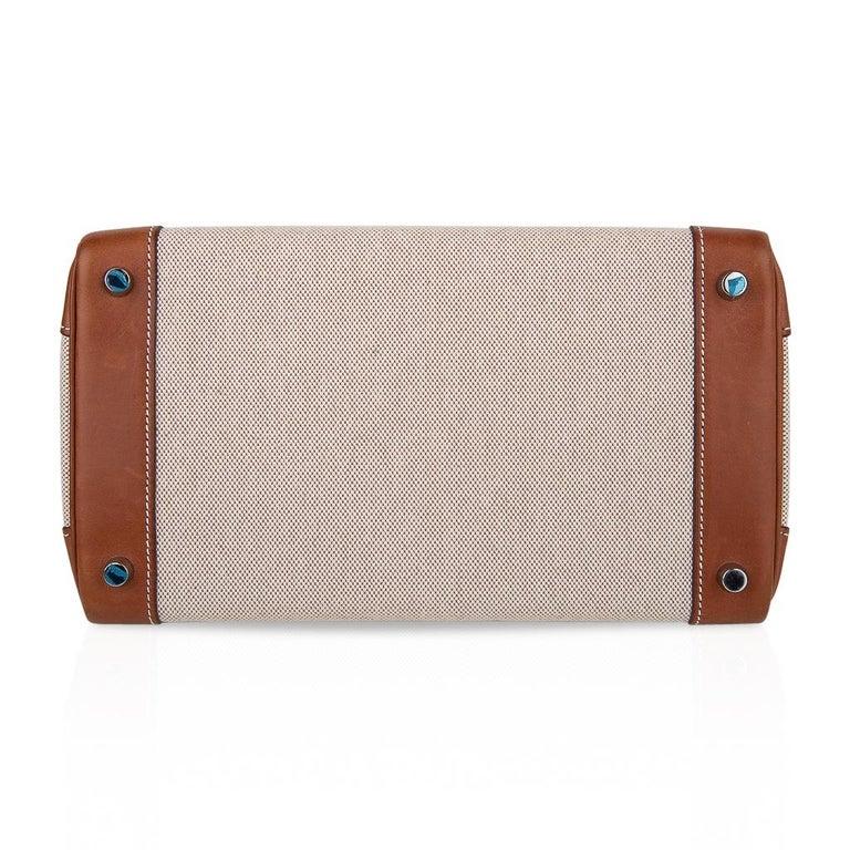 Hermes Birkin 30 Bag Toile / Barenia Leather Palladium w/ Crinoline Bag Charm 11