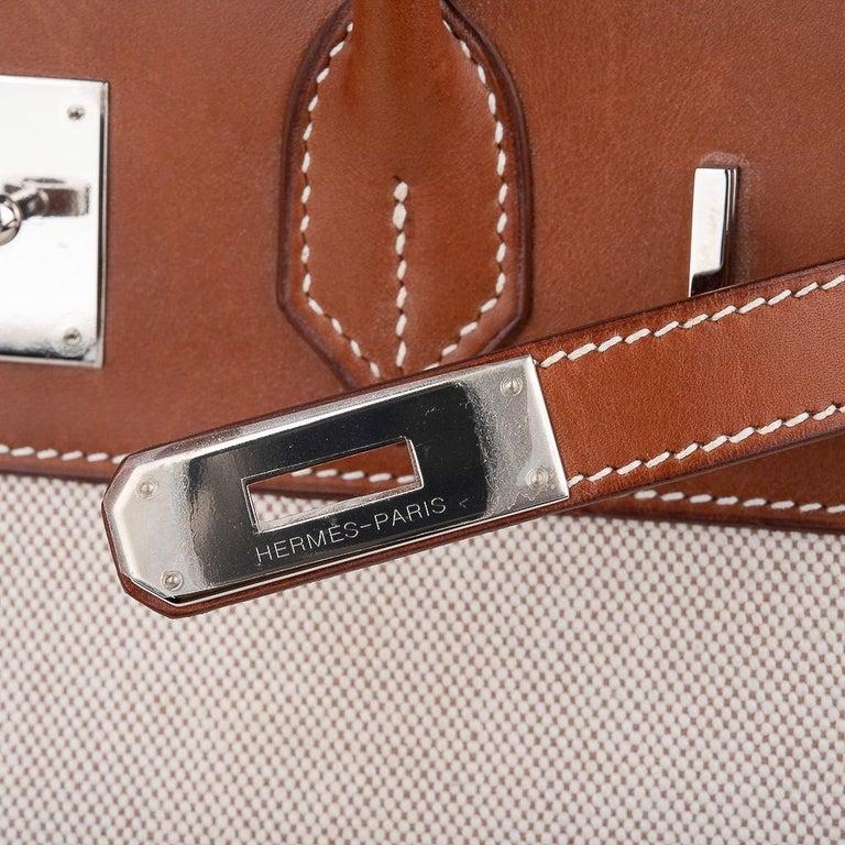 Brown Hermes Birkin 30 Bag Toile / Barenia Leather Palladium w/ Crinoline Bag Charm