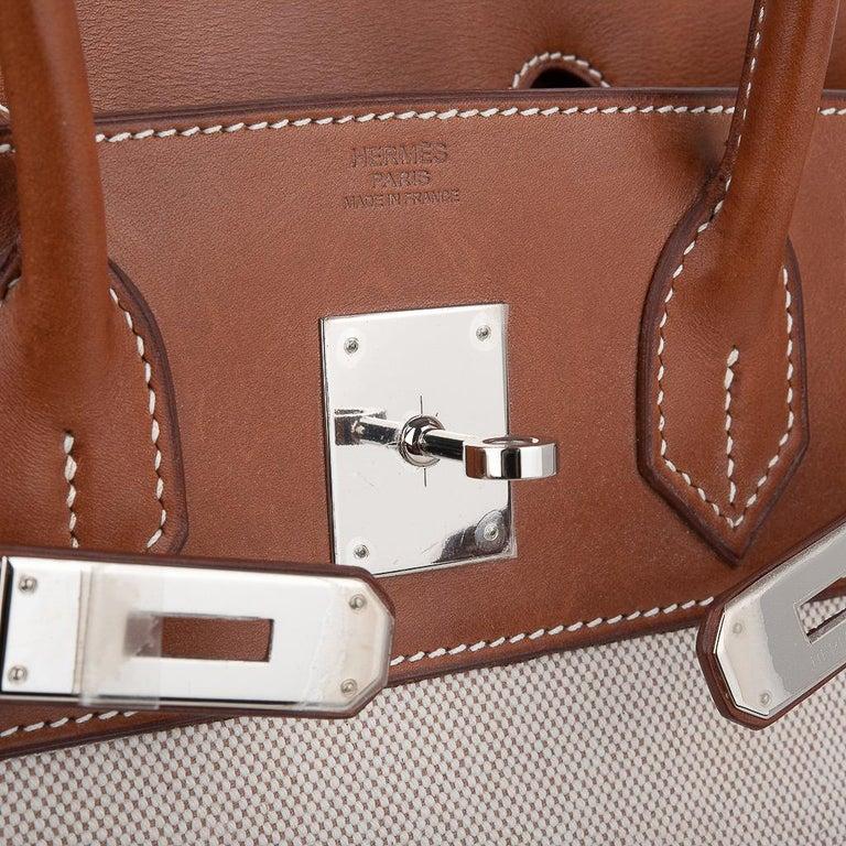 Hermes Birkin 30 Bag Toile / Barenia Leather Palladium w/ Crinoline Bag Charm In Good Condition In Miami, FL