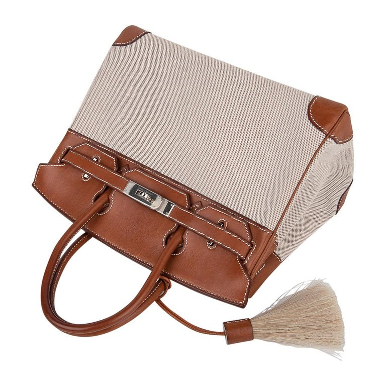 Women's Hermes Birkin 30 Bag Toile / Barenia Leather Palladium w/ Crinoline Bag Charm