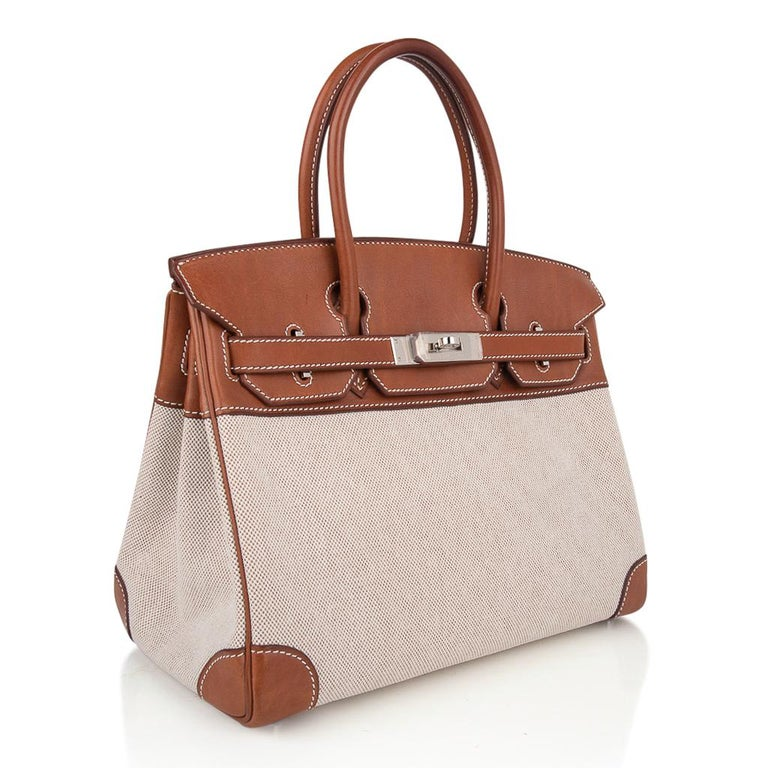 Hermes Birkin 30 Bag Toile / Barenia Leather Palladium w/ Crinoline Bag Charm 1