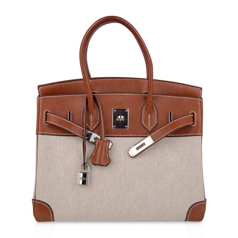 Hermes Birkin 30 Bag Toile / Barenia Leather Palladium w/ Crinoline Bag Charm 2