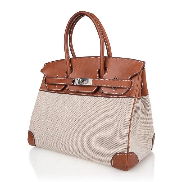 Hermes Birkin 30 Bag Toile / Barenia Leather Palladium w/ Crinoline Bag Charm 3