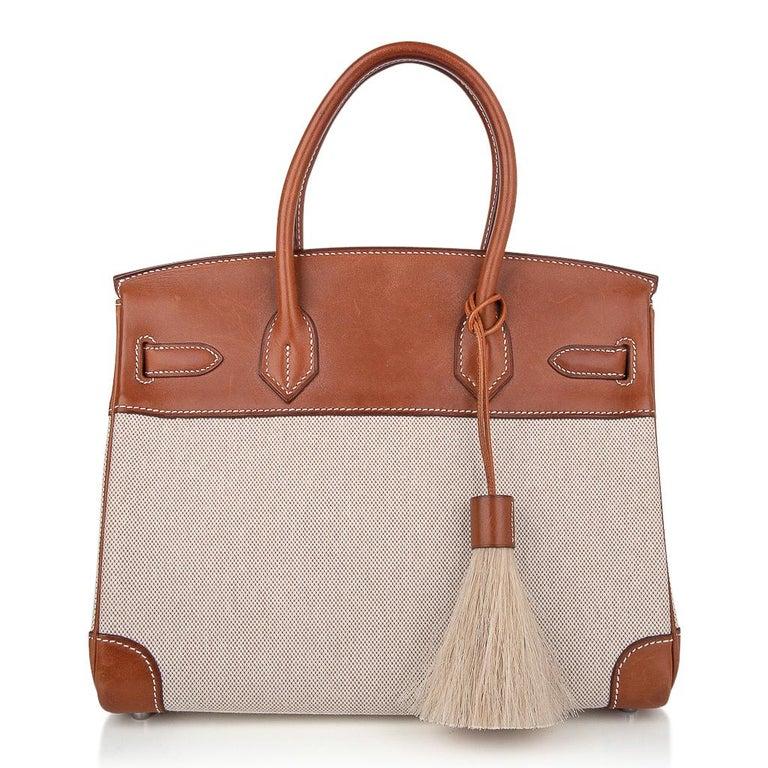 Hermes Birkin 30 Bag Toile / Barenia Leather Palladium w/ Crinoline Bag Charm 4