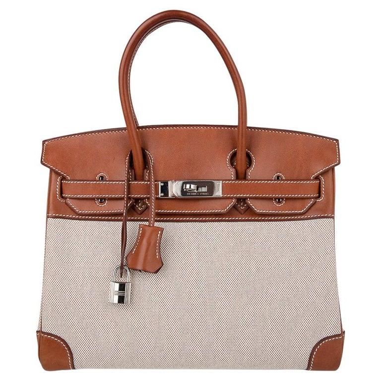 Hermes Birkin 30 Bag Toile / Barenia Leather Palladium w/ Crinoline Bag Charm