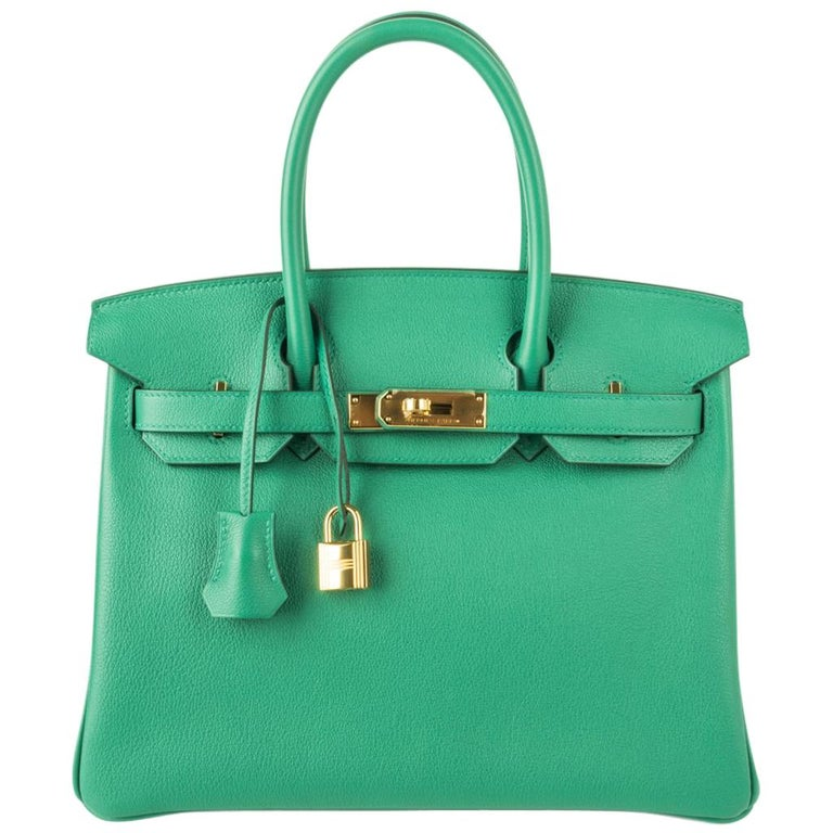Hermes Birkin 30 Bag Vert Vertigo Green Gold Hardware For Sale