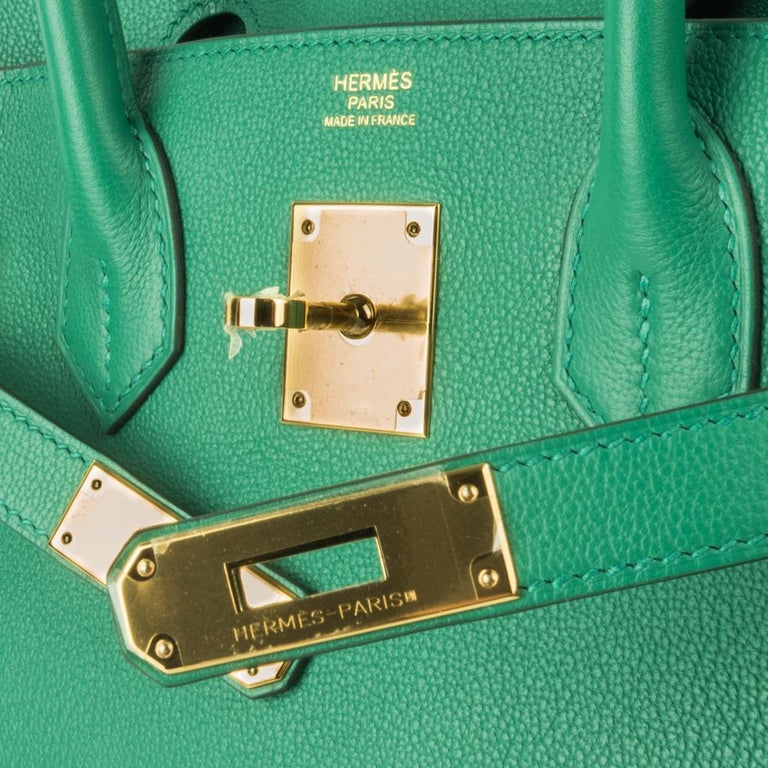 Blue Hermes Birkin 30 Bag Vert Vertigo Green Gold Hardware For Sale