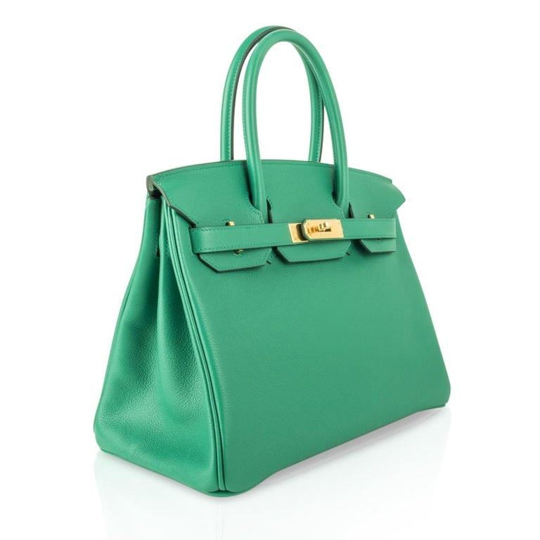 Women's Hermes Birkin 30 Bag Vert Vertigo Green Gold Hardware For Sale