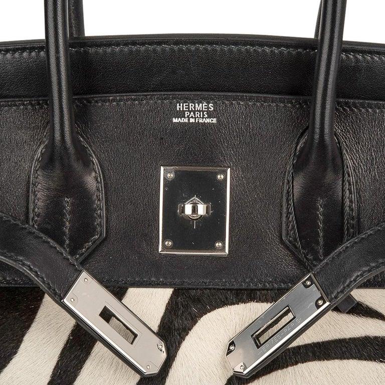Hermes Birkin 30 Bag Vintage Zebra Print Pony Limited Edition Very Rare In Good Condition In Miami, FL