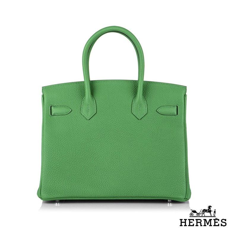 Green Hermès Birkin 30 Bambou/ Caramel Verso Togo PHW For Sale