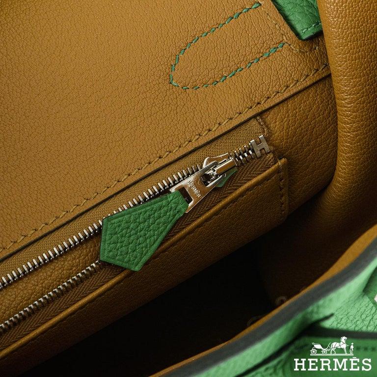 Hermès Birkin 30 Bambou/ Caramel Verso Togo PHW For Sale 1