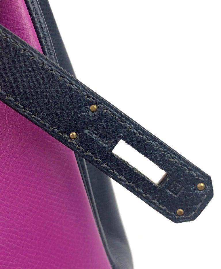 Hermes Birkin 30 BiColor Cyclamen Purple Blue Indigo Epsom Palladium Hardware  For Sale 6