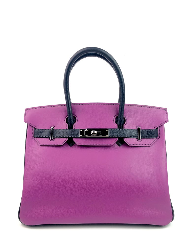 Hermes Birkin 30 BiColor Cyclamen Purple Blue Indigo Epsom Palladium Hardware.  Excellent Condition, light hairlines on hardware, perfect corners and structure.  Shop with Confidence from Lux Addicts. Authenticity Guaranteed!
