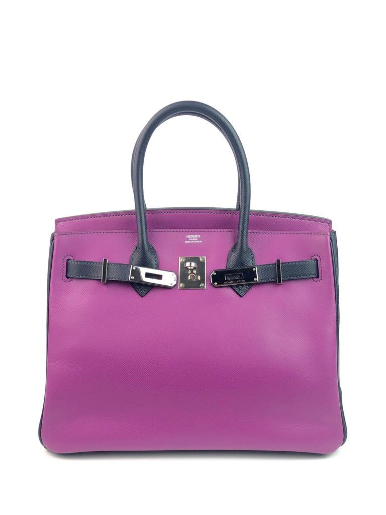Women's or Men's Hermes Birkin 30 BiColor Cyclamen Purple Blue Indigo Epsom Palladium Hardware  For Sale