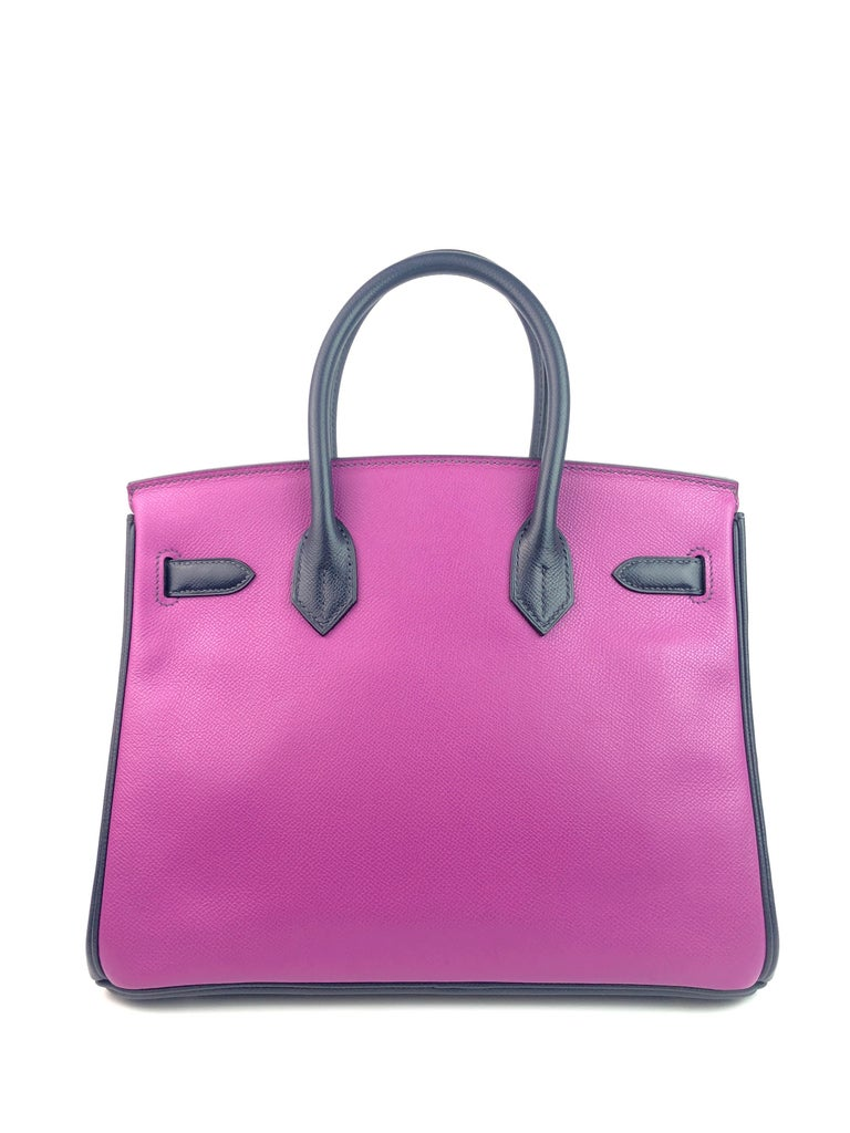 Hermes Birkin 30 BiColor Cyclamen Purple Blue Indigo Epsom Palladium Hardware  For Sale 1