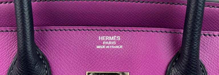 Hermes Birkin 30 BiColor Cyclamen Purple Blue Indigo Epsom Palladium Hardware  For Sale 2