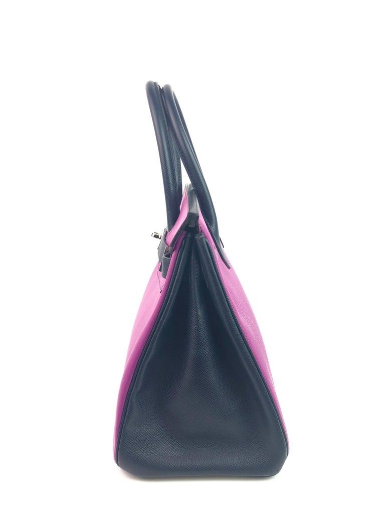 Hermes Birkin 30 BiColor Cyclamen Purple Blue Indigo Epsom Palladium Hardware  For Sale 4