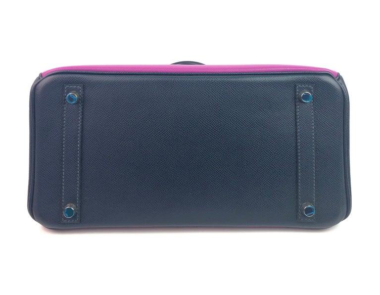 Hermes Birkin 30 BiColor Cyclamen Purple Blue Indigo Epsom Palladium Hardware  For Sale 5
