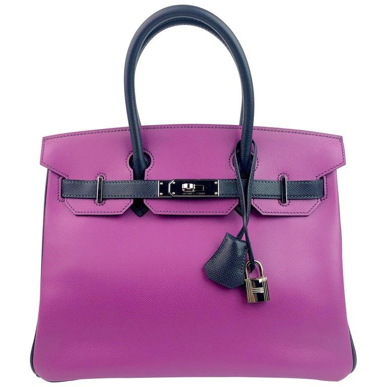 Hermes Birkin 30 BiColor Cyclamen Purple Blue Indigo Epsom Palladium Hardware  For Sale