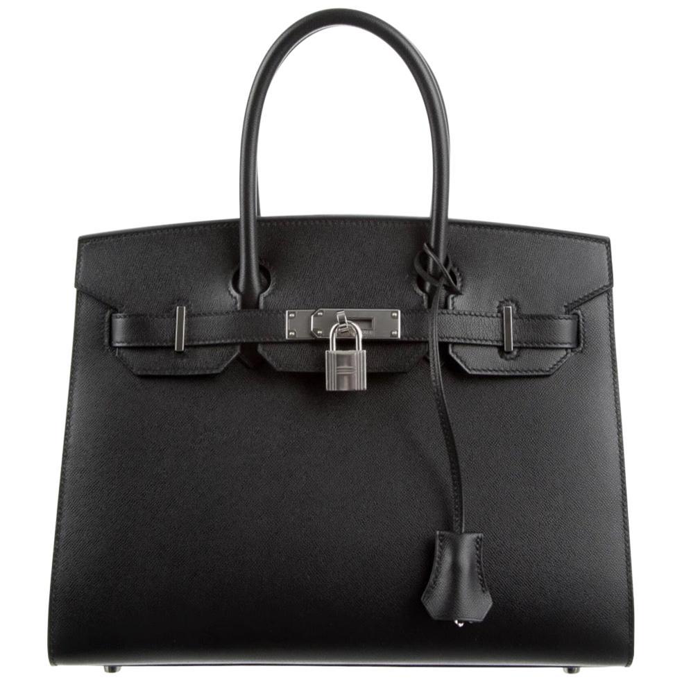 Hermes Birkin 30 Black Leather Palladium Top Handle Satchel Tote Bag in Box