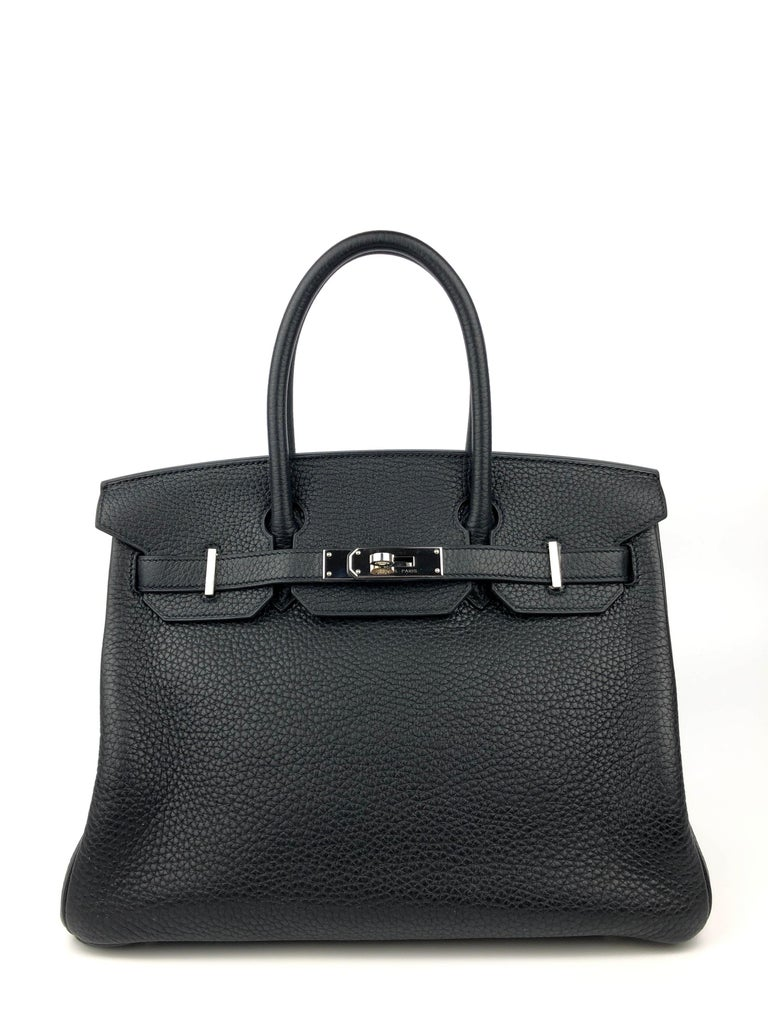 Hermes Birkin 30 Black Noir Palladium Hardware. Excellent Condition, light hairlines on hardware excellent corners and buttery structure.   Shop with Confidence from Lux Addicts. Authenticity Guaranteed!