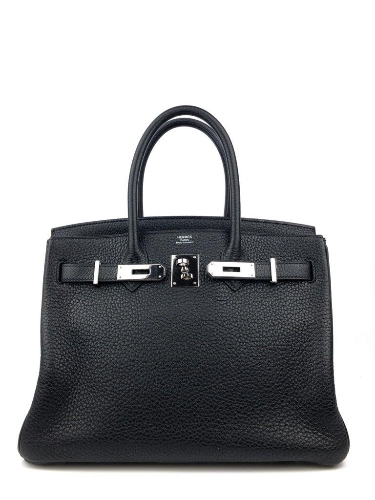 Hermes Birkin 30 Black Noir Palladium Hardware  In Excellent Condition For Sale In Miami, FL