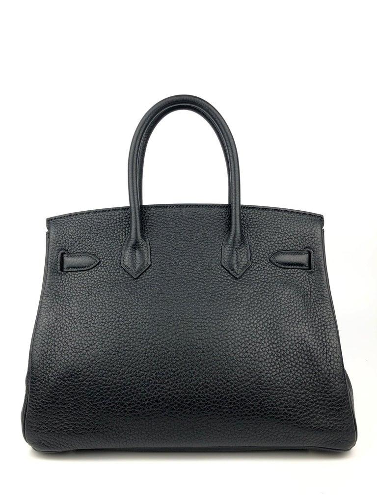 Women's or Men's Hermes Birkin 30 Black Noir Palladium Hardware  For Sale