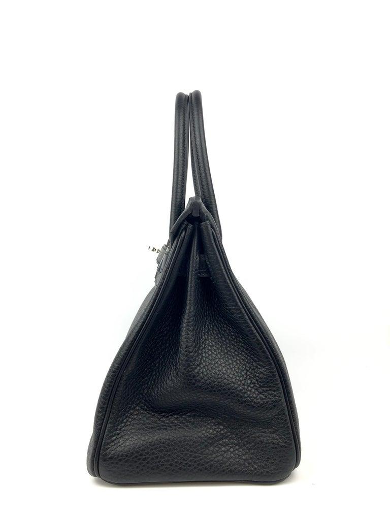 Hermes Birkin 30 Black Noir Palladium Hardware  For Sale 4