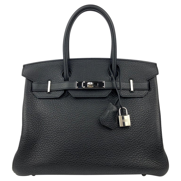 Hermes Birkin 30 Black Noir Palladium Hardware  For Sale