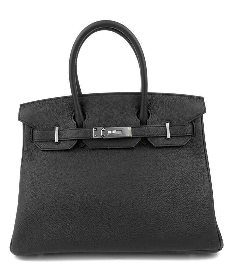 NEW 2020 Stunning Hermes Birkin 30 Black Noir Togo Palladium Hardware. Y Stamp 2020.  Shop with Confidence from Lux Addicts. Authenticity Guaranteed!